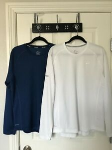 NIKE MILER SIZE L LOT OF 2 DRI-FIT L/S  RUNNING SHIRTS BLUE AND WHITE MUST SEE!