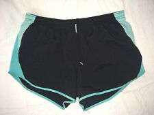 Nike Dri-Fit Black with Light Blue Women's Large Lined Running Jogging Shorts