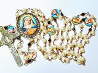 Beautiful Vatican Style Cream Pearl Mary Jesus Cameo St Benedict Catholic Rosary