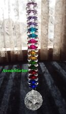 1 x crystal ball crackle glass beads rainbow chakra prism mobile suncatcher 30mm