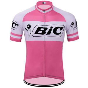 BIC Cycling Jersey Bib Short Pink Color Retro Road Pro Clothing MTB Short Sleeve
