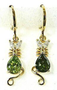 """Gold Filled Cat Earrings 7*5mm Peridot & White Topaz KITTY KAT  ~ 1 1/4"""" D"""