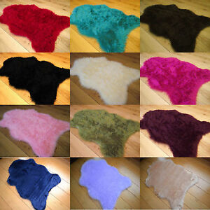 Plain Soft Fluffy Bedroom Faux Fur Fake Single Sheepskin Rugs Washable Hairy Mat