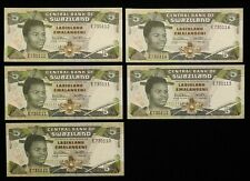 LOT of 5 in SEQUENCE #s 1990 Swaziland 5 Emalangeni UNCIRCULATED P-19a UNC