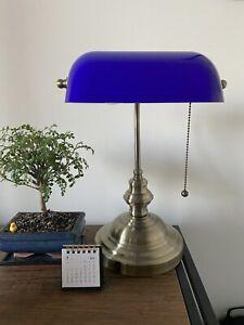 LAMPE DE BUREAU BANQUIER ANCIEN BRONZE NOTAIRE ART DECO OPALINE Bleu VINTAGE XX