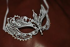 Lovely Venetian White Metal Mask  Masquerade Diamante Ball. Prom/Ball/Wedding.UK