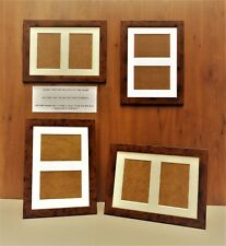 """Double Aperture Mounted Picture Frame Dark Rustic Wood finish - for 6x4"""" prints"""