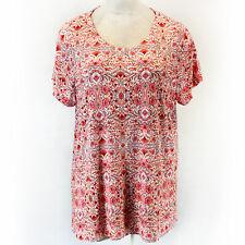 Cynthia Rowley Plus Flower Print Orange/White Crew Neck Top 3X Spring Summer