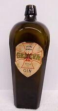 "Antique Geneva Gin Bottle from Holland Original Rare Label Brown Glass 10 1/2"""