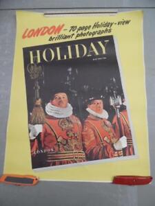 1947 HOLIDAY Magazine Newsstand Poster London England Travel Issue Vintage ORIG