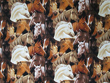 HORSES WESTERN HORSE HEADS TANS BROWNS WHITE COTTON FABRIC BTHY