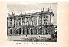Stampa antica MODENA veduta del Palazzo di Giustizia 1910 Old print