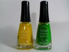 LOT DE 2 VERNIS FLUO FASHION MAKE-UP / JAUNE VERT NEUF