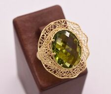 Size 6.5 Peridot Wavy Oval Filigree Ring 14K Yellow Gold Clad Silver 925