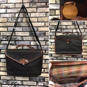 Vintage Mulberry Black Mole Cognac Scotchgrain Crossbody Briefcase