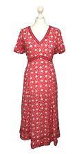 Anokhi para Oriente red Floral Vestido Talla 16 Algodón Ligero Boho