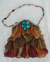Mary Frances HANDBAG PURSE Turquoise Stone Shoulder Bag PERFECT Beads Ruffles