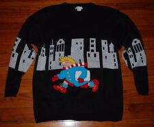 Vintage 1980s Jamie Scott Ski Sweater ft NYC New York City Skyline & Postman L