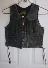 Fringed Genuine Leather Motorcycle Vest Youth Large Black Weathered Look