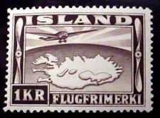 ICELAND # C19. PLANE OVER MAP OF ICELAND. MINT