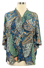 BELLE by Kim Graver size XL deep teal paisley flutter sleeve zipper Vneck blouse