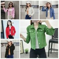 Lady Denim Jean Jacket Coat Long Sleeve Button Pockets Slim Casual 6 Colors Cool