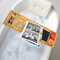 Bamboo Bathtub Caddy Tray With Extending Sides, Ipad Tray And Wineglass Holder B