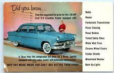 *1954 130 HP Ford V-8 Crestline Fordor Buick Advertisement Vintage Postcard C54
