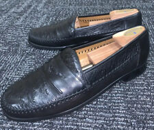 "$595 Mezlan ""Mario� Men's Black Ostrich & Nappa Leather Slip-On Moc Loafer Us-10"