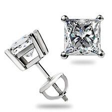 1.60 Ct Princess Cut Stud Earrings Lab Diamond Screwback Real 14k White Gold USA