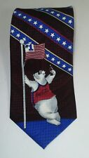 Coca Cola Polar Bear Flag Stars and Stripes Polyester Tie.   56L x 4W   (T1)