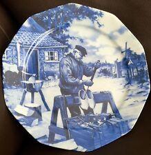 """Excellent Quality Vintage Heavy Dutch """"Delft"""" Blue Porcelain 10""""/24cm Wall Plate"""