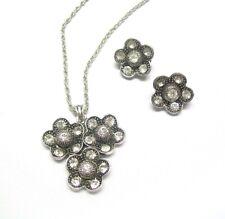 Antique Silver Crystal Diamante Flower Necklace Earrings Jewellery Set Women UK
