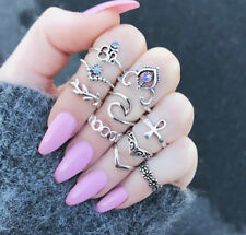 10pcs/Lot Women Flower Vintage Crystal Hollow Carved V-Shaped Joint Ring Set