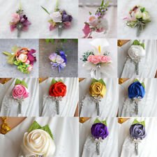 Artificial Wedding Flower Corsage Groom Best Man Boutonniere Party Decoration
