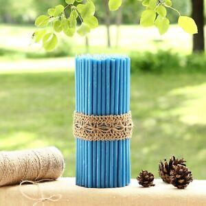 🔵 Thin 205x6.6mm Handmade 100% Natural Beeswax Altar Church Orthodox Candles