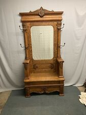 Antique Quartered Oak Hall Tree Beveled Mirror