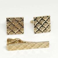 Vintage Men's Anson Karatclad Gold Tone Design Cufflink Tie Bar Clasp Set