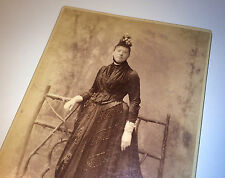 Antique Victorian Wealthy Beaded Fashion Woman, Hat, ID'd New York Cabinet Photo