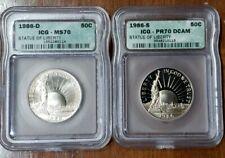 1986 (D & S) ICG MS70 & PR70 DCAM- STATUE OF LIBERTY COMMEMORATIVE HALF DOLLARS