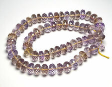 """16"""" Strand AMETRINE Amethyst Citrine 10mm Faceted Rondelle Beads AAA NATURAL"""