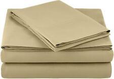 AmazonBasics Lightweight Super Soft Microfiber Sheet Set, Twin XL, Olive, 4 PACK