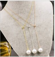 Adjustable Rose Gold Silver Stainless Steel Pearl Drop Y Lariat Necklace Box PE6