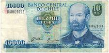 1992 Chile 10,000 Peso Banknote, Average Circ.