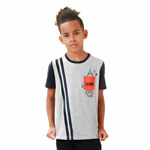 TaiMoon Short Sleeve Striped T-shirt Tops For Kids Boys 100% Cotton Grey