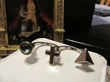 Silver Artistic Cross Gothic DOUBLE Ring w/ triple charms ~ Fun Gift!