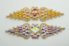 1 pcs Costume Wedding Dress Rhinestone Applique Color Crystal Sewing On(K9049)