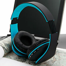 Foldable FM Stereo MP3 Player Wired Bluetooth Headset Black & Blue