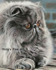 "Persian Cat Art Print ""Lilla Boss"" Giclee 8x10 by Realism Artist Roby Baer Psa"