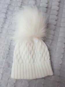 Pex Textured Fur White Pom Pom Hat 0-12 months